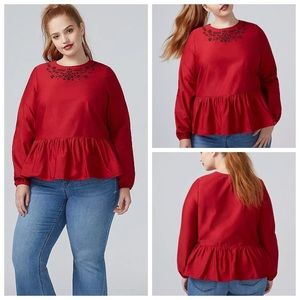 Lane Bryant Red Peplum Embroidered Blouse